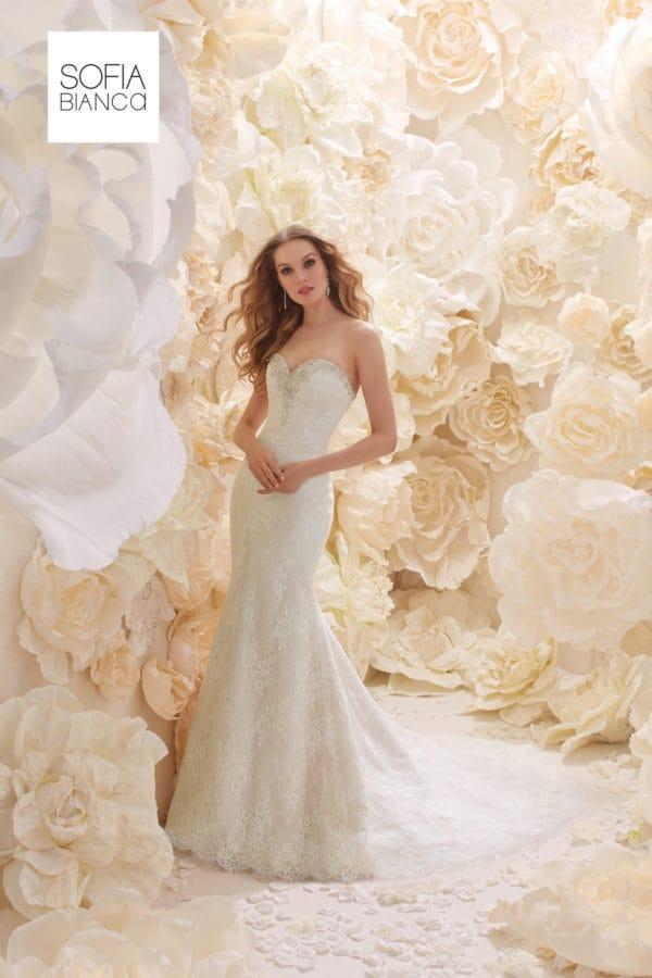 A strapless slim fit lace dress 51270
