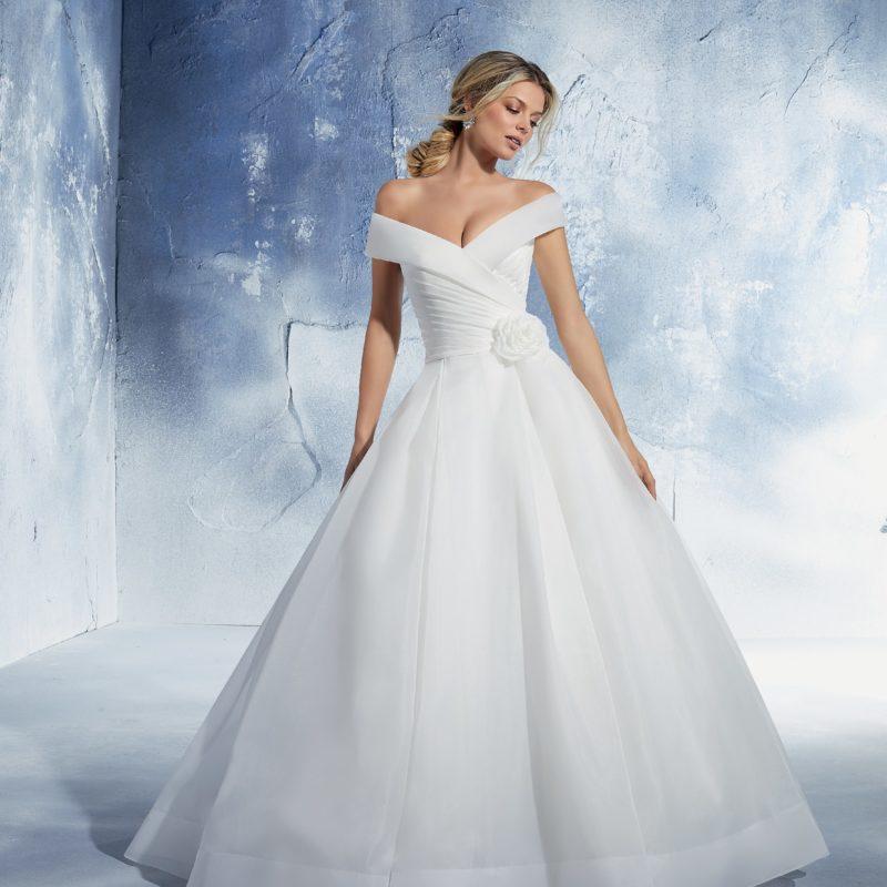 51461 - abito da sposa classico in organza