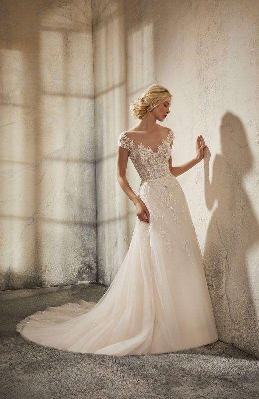 abito da sposa in pizzo con maniche, 51576