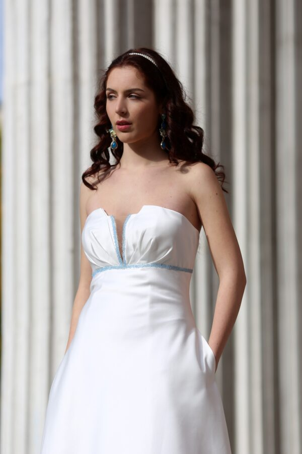 abito da sposa A line in raso